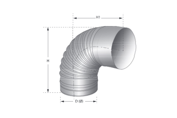 90 ° smooth single wall stainless steel beaded curve
