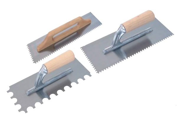 notched trowel wooden handle