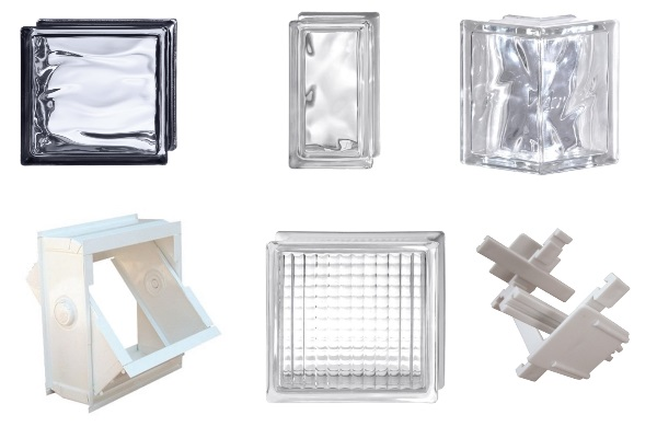 glass blocks and tiles and accessories